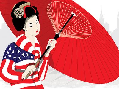 Tokyo Rising illustration illustration art americana trade industry geisha umbrella flag america usa japan tokyo