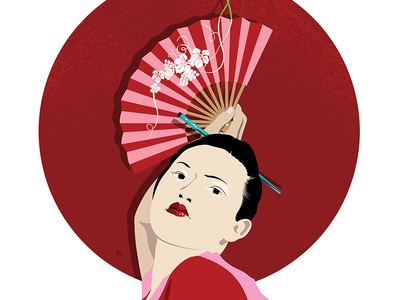 The Land of the Rising Vine illustration art illustration fan grapes flag red geisha alcohol wine japanese japan