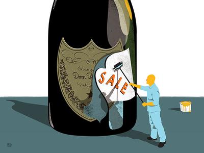 Cut Price illustration art illustration bottle decorator paste champagne sale bargain
