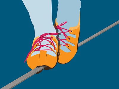 Tackling Touchy Topics illustration art illustration challenging challenge difficulty tackling thin line shoes walking walk tightrope
