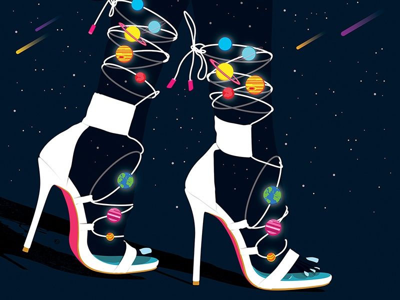 Cosmic Heels illustration art illustration space art space shoes heels planets universe cosmic fashion illustration fashion art fashion