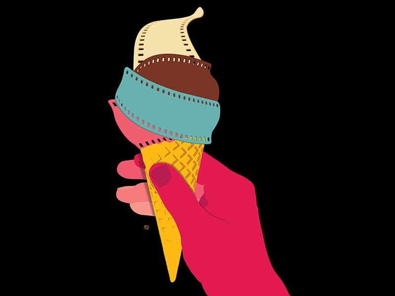 Summer Films illustration art illustration ice cream cone ice cream movies films film summer