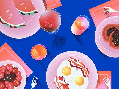 Yummy breakfast vector drinks kawaii pink cute eggs breakfast food illustration grain texture design