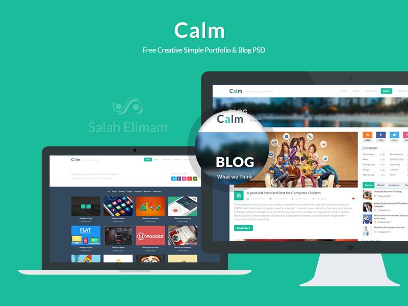 Calm l Free Creative Simple Portfolio & Blog PSD creative free free psd psd flat design flat ui portfolio