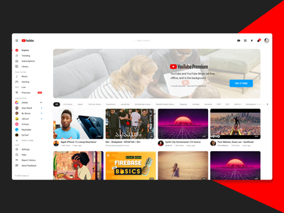Youtube Desktop Home Refine youtube ui design playingcards video rounded clean white ui playing