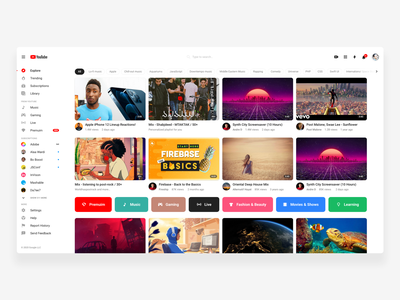 Youtube Desktop Home Refine cards rounded clean ui design youtube white ux design ui