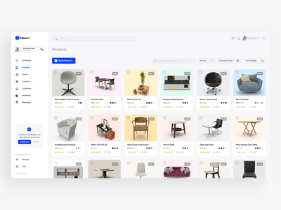 Products Cards card products panel ecommerce dashboard ux design ui