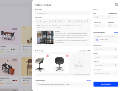 Add Product Modal modal add dashboard design ux ui