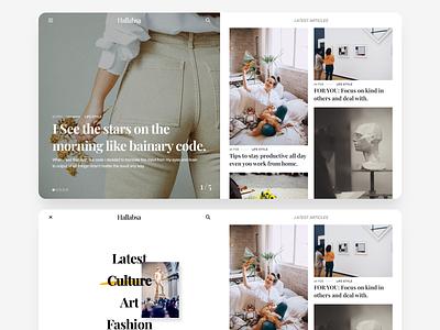 Hallabsa blogger personal white clean flat design ux ui