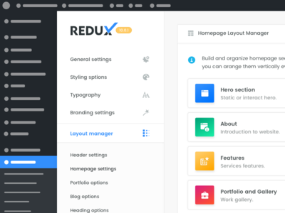 Dory | Redux | Builder redux wordpress admin panel dashboard design ui ux app