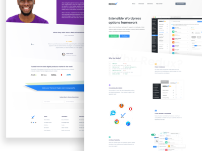 Redux - Saas Landing Page light ui panel redux blue shadow white landing sass