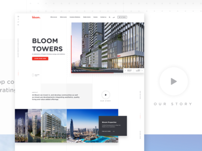 Bloom Holding properties real estate shadow lines clean white ux ui