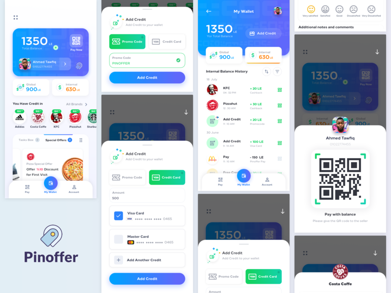 Pinoffer v1 credit tasks offers wallet pinoffer clean design ux ui