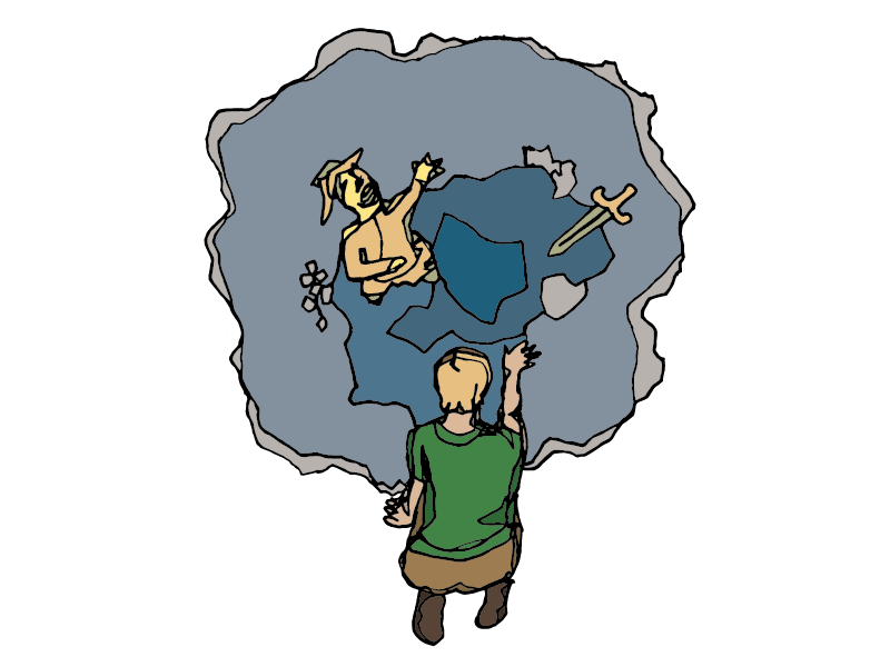 Eustace and the Golden Pool hand-drawn illustration