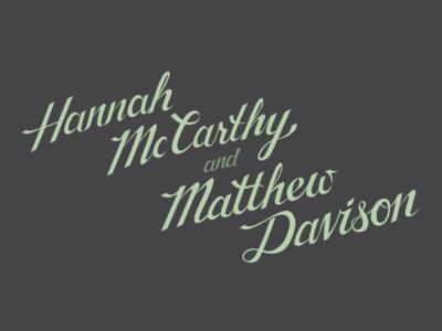 McCarthy & Davison Wedding Calligraphy