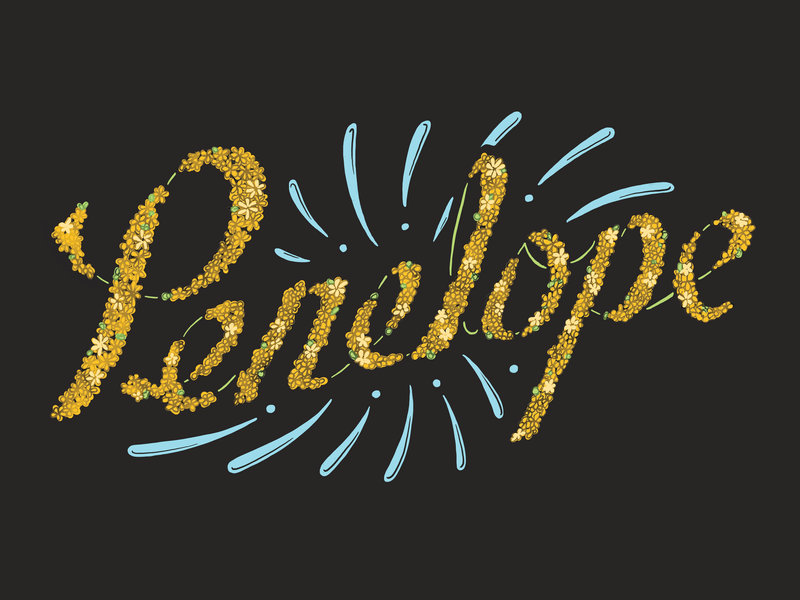 Penelope Pup's Picnic Print chalk art design typography handdrawn calligraphy hand-drawn illustration