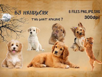 Dog Portraits Clipart, Puppies Clipart graphic design happy