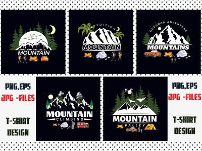 5 Mountain T Shirt Design Bundle print fonts