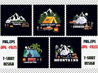 Mountain T Shirt Design Bundle print fonts