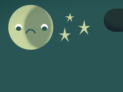 Worried Moon illustration moon sky stars