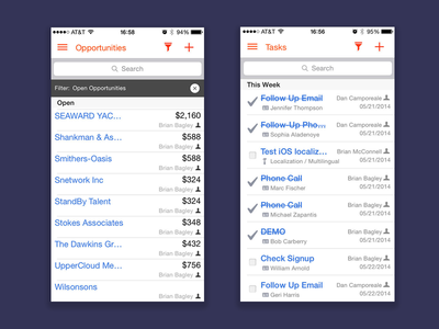 CRM Mobile Application ios mobile tasks opportunities crm