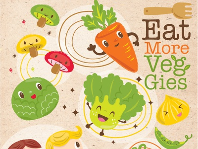 Eat More Veggies! illustration kids children veggies carrot cabbage eat lettuce onion peas mushrooms tomato