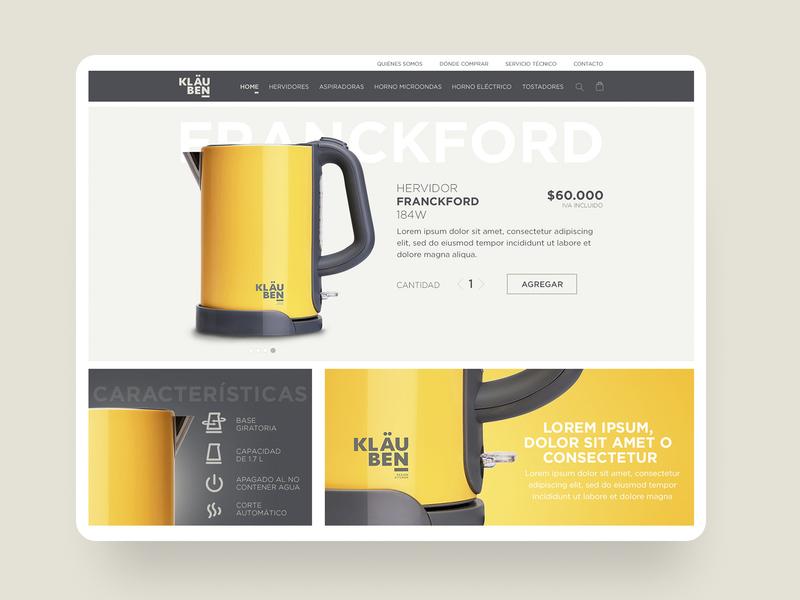 Kläuben - eCommerce product page household appliance ui design uxui ux product page ecommerce design web ui