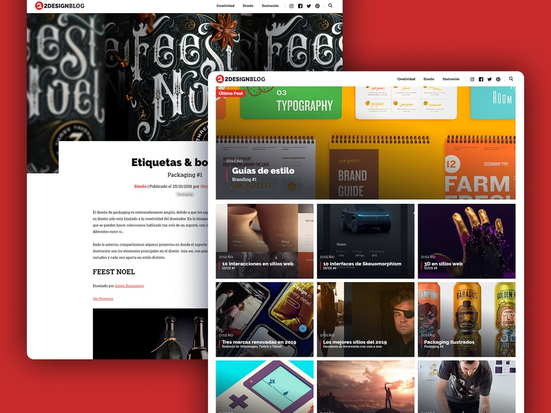 2DesignBlog - Category and post page personal project blog design category post blog homepage website web design web uxui ux ui design ui