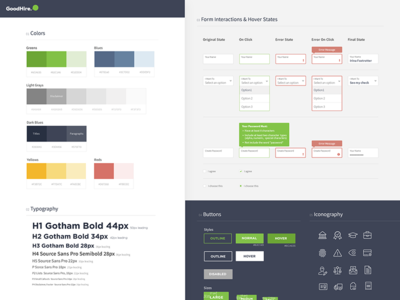 GoodHire - UI Styleguide startup forms colors typography styleguide icons ui styles