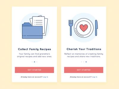 Onboarding - Family Recipe App ui food recipe illustration icon app walkthrough signup register login mobile onboarding