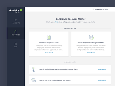 Resource Center faq ui layout grid card typography icons resources