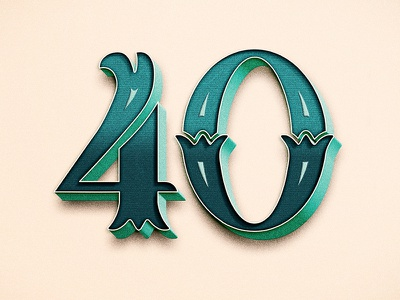 The Big 40  digits handdrawn type typography lettering over the hill 40