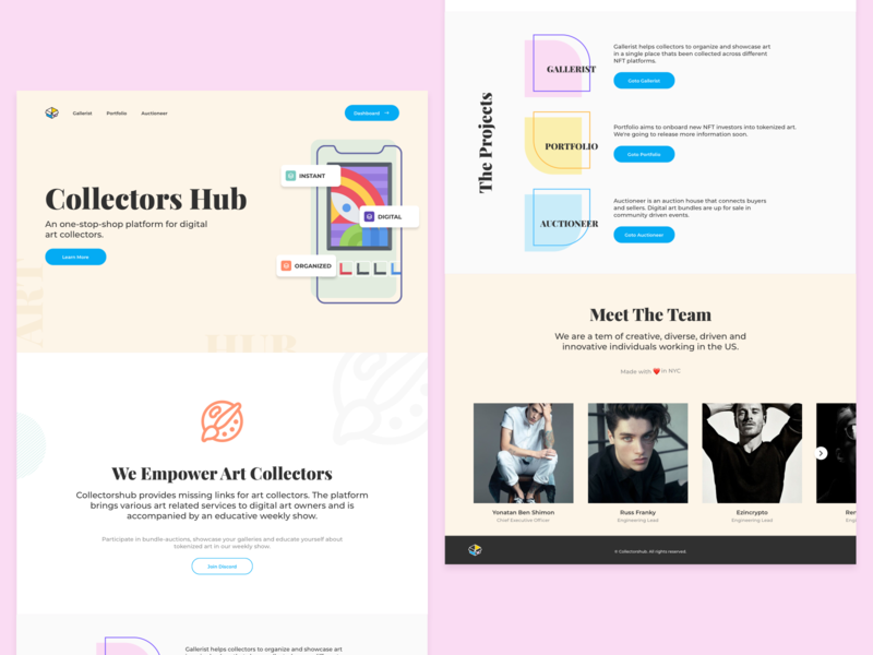 Collectors Hub Landing Page landing website user experience user interface ui ux design