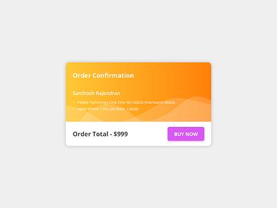 Order confirmation Concept buynow confirmation order webapp sketch freebie ui card