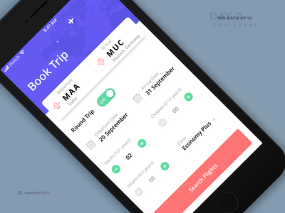 100 Days of UI - #2 booking screen app ux ui challenge 100 days