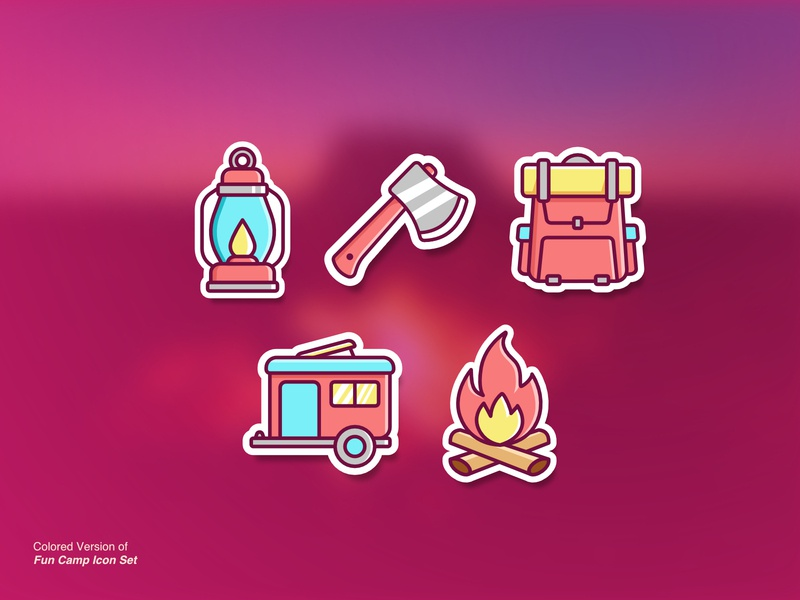 Fun Camp Colored icon illustration for sale ui vector icon set