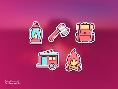 Fun Camp Colored icon illustration for sale ui vector icon set