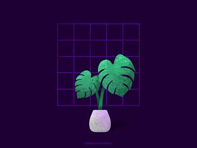 te-tumbuh-an purple retro monstera plant cartoon illustration vector