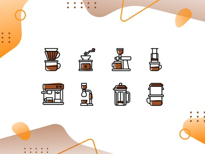 Coffee Brewing - Icon Set memphis coffee illustration vector icons