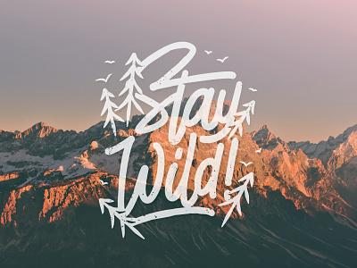 Stay Wild for sale tshirt design monoline typography brushpen lettering