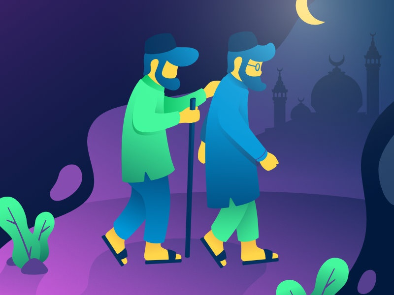 Blind Man Go To Mosque ramadhan uiux gradient illustration vector