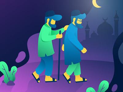 Blind Man Go To Mosque ramadhan uiux gradient illustration vector