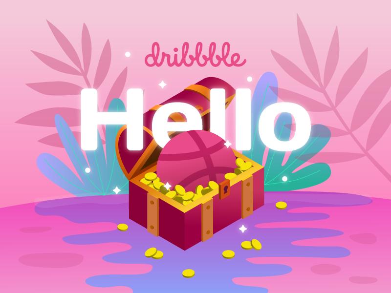 Hello Dribbble! isometric hellodribbble dribbble illustration debut