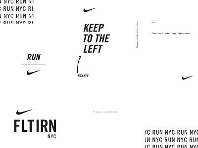NIKE RUN NYC brand design lockup typography swoosh run nyc new york nyc flatiron nike running passing lane