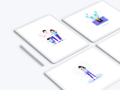 U Point onboarding cute love point father child man woman happy day family cart onbaord ux vector illustration ui design app