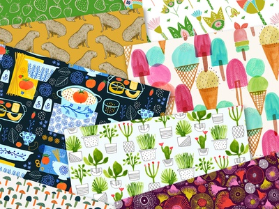 Various Patterns greenery pasta kitchen ice cream stationery fabric tiled pattern seamless repeats patterns