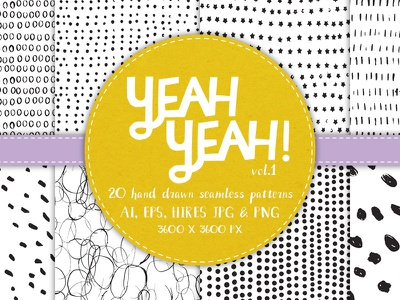 YeahYeah - 20 Seamless Patterns brush marks design elements backgrounds mark making patterns repeat seamless pattern