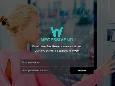 Necessivend startup landing page website design