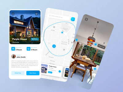 House Renting App renting app product page homepage ui ux designer mobile design delivery tracking map tracking google map ecommerce app