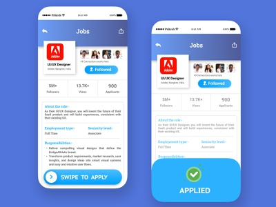 Job Application- Swipe To Apply ui ux design app
